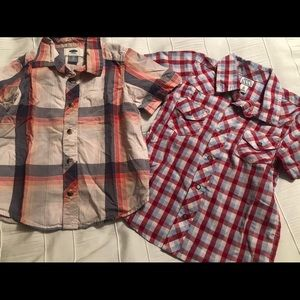 Lot of 2 Boys 4T Plaid Button Down Shirts Old Navy